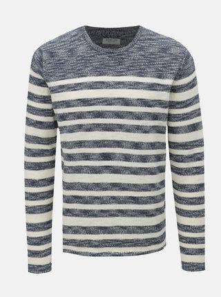 Krémovo–modrý pruhovaný sveter Dstrezzed Crew