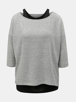 Šedý lehký žíhaný svetr s tílkem 2v1 ONLY Alberta