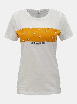 Biele tričko s potlačou ONLY Dotti