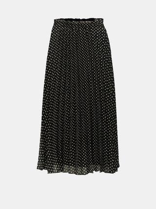 Bílo-černá puntíkovaná plisovaná midi sukně ONLY Paige