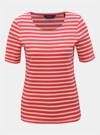 Bílo-růžové dámské pruhované basic tričko GANT