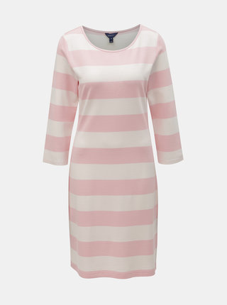 Bílo-růžové pruhované basic šaty GANT
