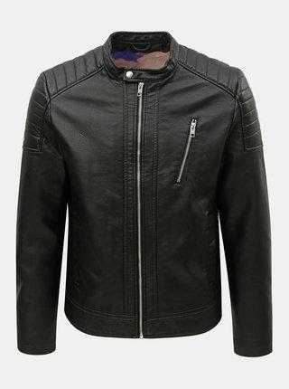 Jacheta neagra din piele sintetica Jack & Jones Wheels