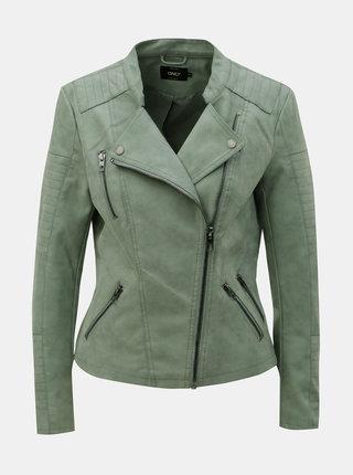 Jacheta biker verde deschis din piele sintetica ONLY Ava