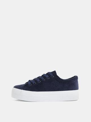 Pantofi sport albastru inchis din material reiat cu platforma Pieces Carma