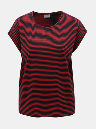 Tricou basic rosu-albastru in dungi VERO MODA AWARE Mava
