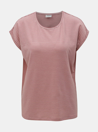 Tricou basic alb-roz in dungi VERO MODA AWARE Mava