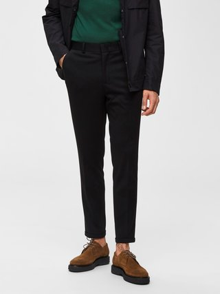 Černé zkrácené skinny fit kalhoty Selected Homme Jersey