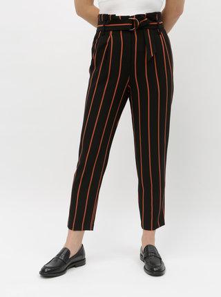 Cihlovo-černé pruhované zkrácené kalhoty Miss Selfridge