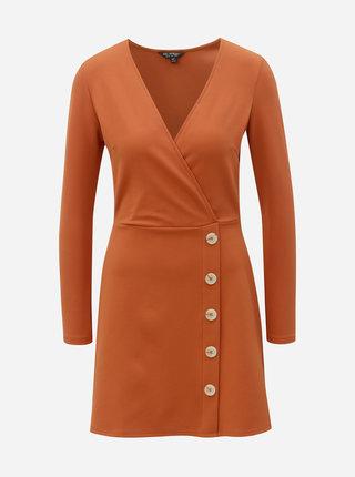 Cihlové žebrované šaty Miss Selfridge