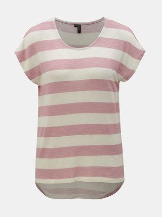 Krémovo-růžové pruhované tričko VERO MODA Wide