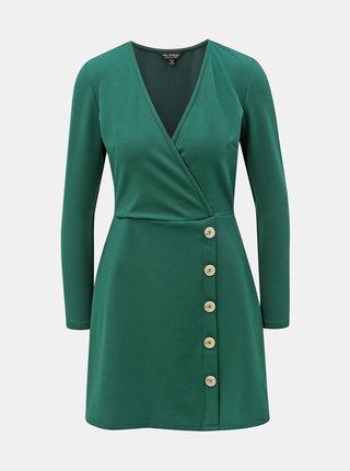Tmavě zelené žebrované šaty Miss Selfridge