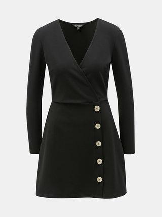 Černé žebrované šaty Miss Selfridge