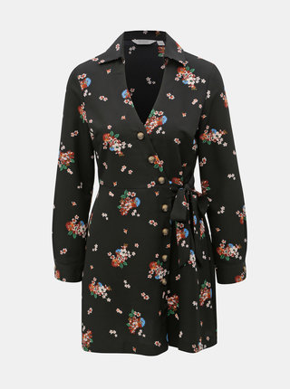 Čierne kvetované zavinovacie košeľové šaty Miss Selfridge Petites