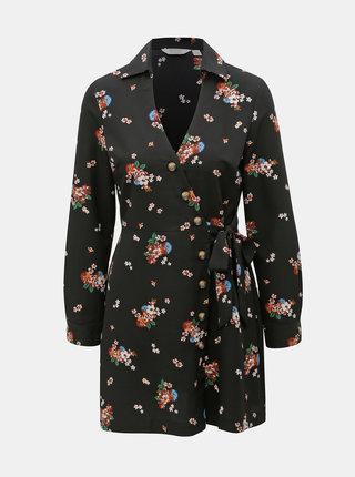 Rochie tip camasa suprapusa neagra florala Miss Selfridge Petites
