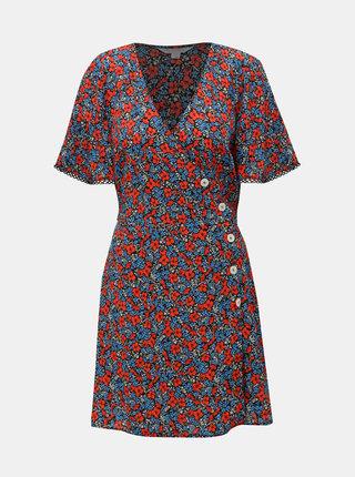 Modro–červené kvetované šaty Miss Selfridge