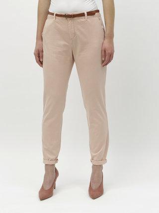 Růžové chino kalhoy s páskem VERO MODA Flash