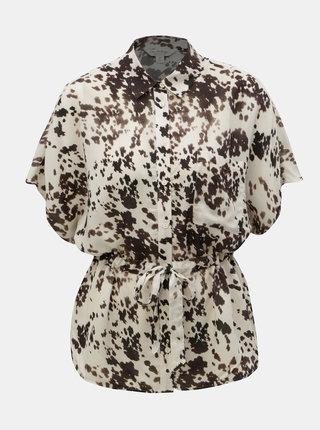 Hnědo-krémová vzorovaná halenka Miss Selfridge
