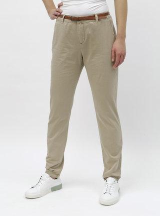 Béžové chino kalhoy s páskem VERO MODA Flash