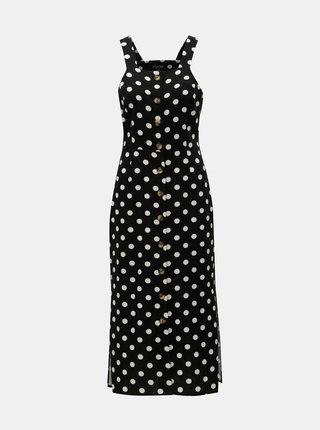 Bílo-černé puntíkované midišaty s příměsí lnu Miss Selfridge