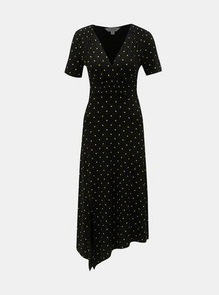 Černé asymetrické midišaty Miss Selfridge