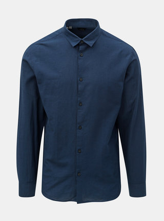 Camasa albastru inchis slim fit cu amestec de lana Selected Homme Linen