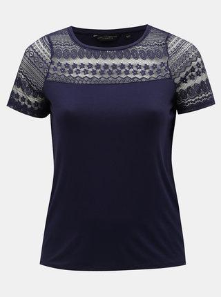 Tmavě modré tričko s krajkou Dorothy Perkins Curve