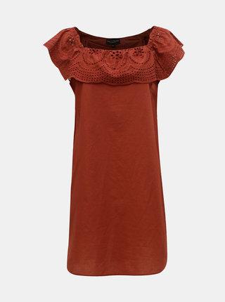 Tehlové šaty s madeirou a odhalenými ramenami Dorothy Perkins