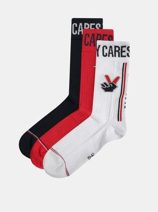 Sada tří párů dámských ponožek v modré, červené a bílé barvě Tommy Hilfiger