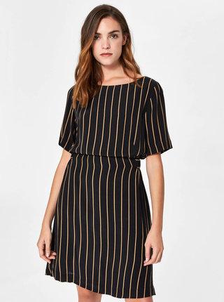 Čierne pruhované šaty s krátkym rukávom Selected Femme Alessa