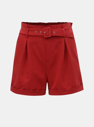 Červené kraťasy s vysokým pásom TALLY WEiJL Penessa