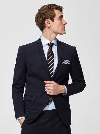 Tmavomodré oblekové slim sako s prímesou vlny Selected Homme Lobill