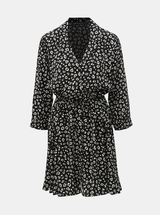 Čierne košeľové šaty s leopardím vzorom TALLY WEiJL Vilaury