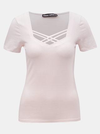 Světle růžové tričko s pásky v dekoltu TALLY WEiJL Libro