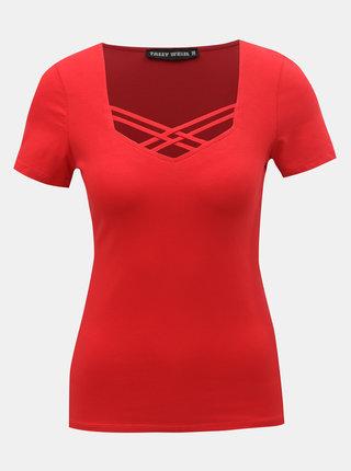 Červené tričko s pásky v dekoltu TALLY WEiJL Libro