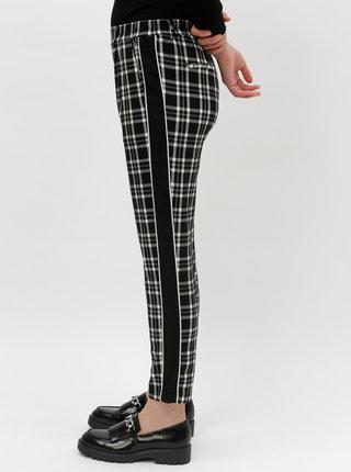 Bílo-černé kostkované zkrácené kalhoty s vysokým pasem TALLY WEiJL Asyc