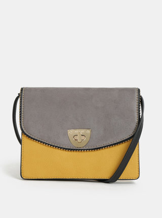 Sivo–žltá crossbody kabelka Bessie London