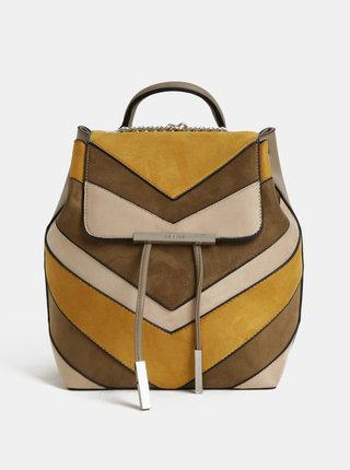 Horčicovo–béžový batoh v semišovej úprave Bessie London