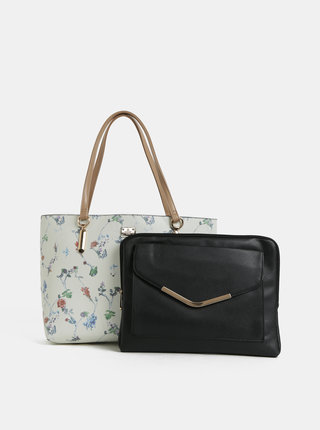 Geanta pentru shopping crem florala cu portofel pentru laptop 2 in 1 Bessie London