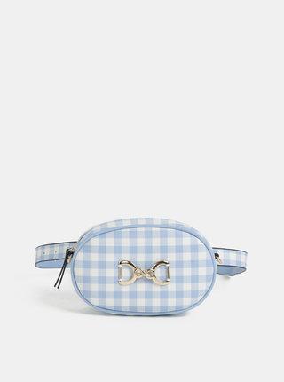 Bielo–modrá kockovaná ľadvinka/crossbody kabelka Bessie London