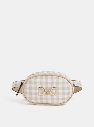 Bielo–béžová kockovaná ľadvinka/crossbody kabelka Bessie London