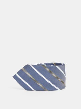 Bielo–modrá pruhovaná kravata Jack & Jones Roth