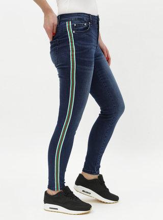 Tmavě modré slim fit džíny s pruhy na bocích ONLY Pearl
