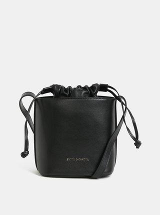 Černá kožená vaková crossbody kabelka Smith & Canova Loe