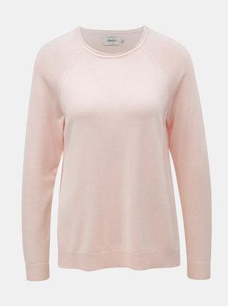Světle růžový svetr s rozparky ONLY New