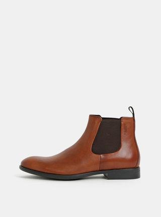 Hnedé pánske kožené chelsea topánky Vagabond Harvey