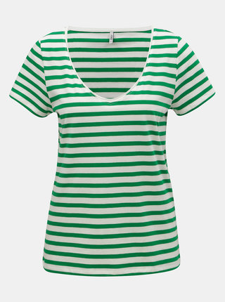 Tricou basic alb-verde in dungi ONLY Brave