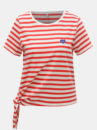 Bielo–červené pruhované tričko s uzlom ONLY Brave