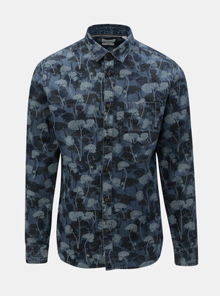 Modrá kvetovaná rifľová slim fit košeľa ONLY & SONS Theo