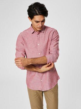 Ružová melírovaná slim fit košeľa s prímesou ľanu Selected Homme Linen